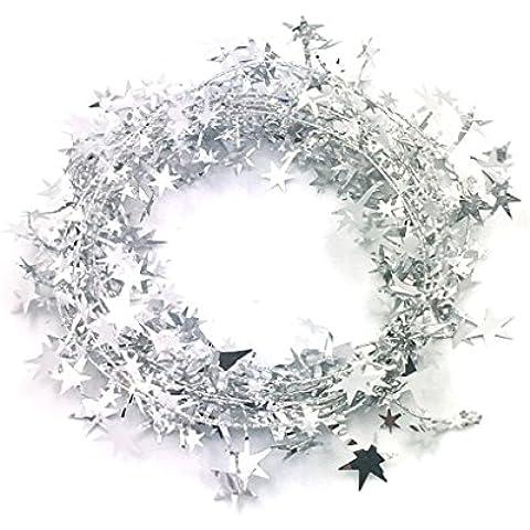 QHGstore Árbol de Navidad colgante de estrella de la Navidad del pino de la guirnalda decoración del ornamento 5 colores 5m plata