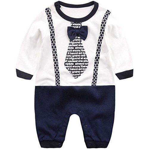 Newborn Boys Rompers Cotton Onsises Long Sleeve Sleepsuit Baby Coveralls, 0-3 Months