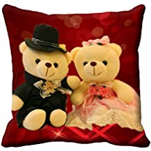 "meSleep Character Satin Love Teddy Cushion Cover - 16""x16"", Red"