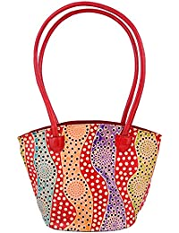 Zint Genuine Leather Shoulder Bag Multi-colour Purse Handbag Tote Bag Shantiniketan Boho Ethnic Polka Dot Design
