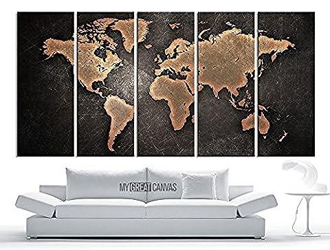 Tanda Extra grande Toile moderne en relief Orange carte du monde sur fond noir métallique 5panneaux Grande décoration murale 203,2cm Total