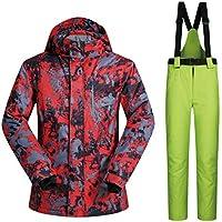 Jiuyizhe Chaqueta de esquí Impermeable para Hombres de Mountain Outdoor, Chaqueta de Lluvia y Pantalones a Prueba de Viento de Invierno (Color : 03, Size : XL)