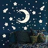 Wandtattoo-Loft Leuchtaufkleber 75 Stk. Halbmond Sterne mit Gesichtern selbstklebend Leuchtsticker fluoreszierend