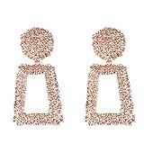 Jasnyfall Punk Style Frauen Große Geometrische Anhänger Lange Ohrringe Modeschmuck geometrische Ohrringe für Frauen geometrische Ohrringe Farbe: Roségold