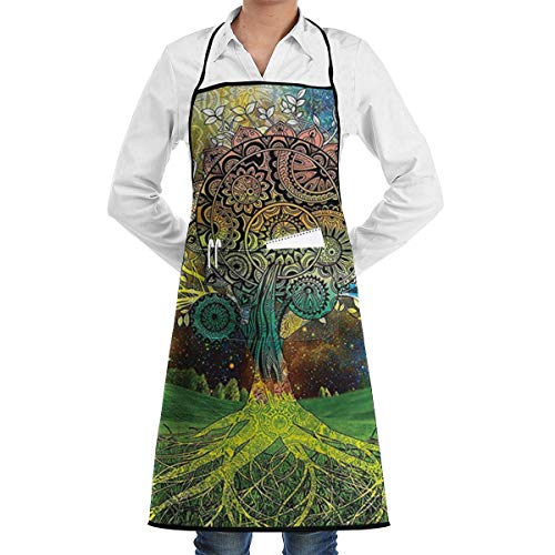 Drempad Schürzen/Kochschürze, Tree in The Valley with Spiral Branch Balance in Mother Earth Apron Kitchen Cooking Commercial Restaurant Apron for Women and Men-Perfect for Gifts