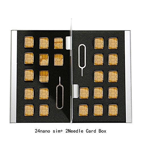 Myymee 24 Nano SIM Kartenhalter und 2 Telefon Allgemeine Nadeln, Metall Aluminium-Legierung SD-Kartenhalter Fall Handy Speicherkarte Aufbewahrungsbox Silber -
