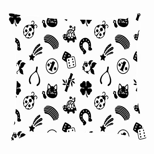 tuyi Lucky Charms Black White Signs Symbols Background Throw Pillow Covers Cotton Linen Cushion Cover Cases Pillowcases Sofa Home Decor 18
