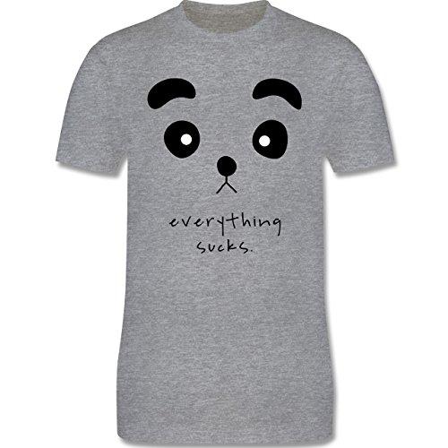 Eulen, Füchse & Co. - Panda everything sucks - Herren Premium T-Shirt Grau Meliert