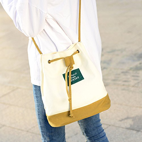 Young & Ming - Cinturino sottile Tela Bucket Bag Totes Donna Female Fresh Borse a spalla Handbag Canvas Shoulder Bag Borse a tracolla cachi