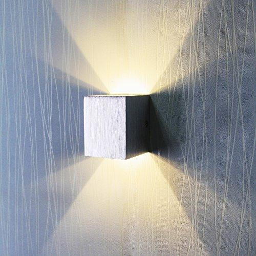 BAYTTER® moderne 3W LED Square Wandleuchte Wandlampe warmweiß, Veranda Gehweg Wohnzimmer Licht im Flur Schlafzimmer Licht Leuchte, aus Aluminum, Leuchtwinkel von 60 Grad