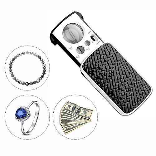 Itian LED Slide Out Pocket Lupe(30x 60x 90x) Multi Power kleinen Tragbaren Vergrößerung mit UV Licht Best für Karte,Schmuck,Diamanten -