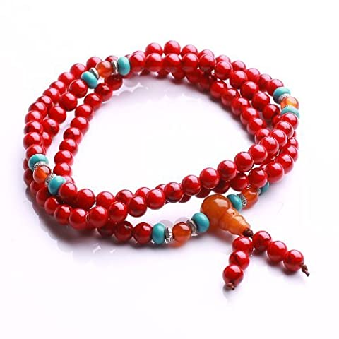 Qiyun 6mm 108 Red Prayer Mala Rosary Bead Buddhist Meditation Necklace Bracelet