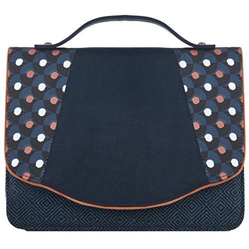 LADIES RUBY SHOO BELFAST NAVY BLUE SPOTS TWEED VEGAN FRIENDLY CLUTCH HANDBAG (Front Flap Clutch)