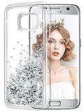 wlooo Handyhülle Samsung Galaxy S7 Glitzer Hülle, Flüssig Bewegende Treibsand Fließend Flüssigkeit Glitter Quicksand Transparent Silikon Weich TPU Bumper Luxury Bling Original Schutzhülle Case