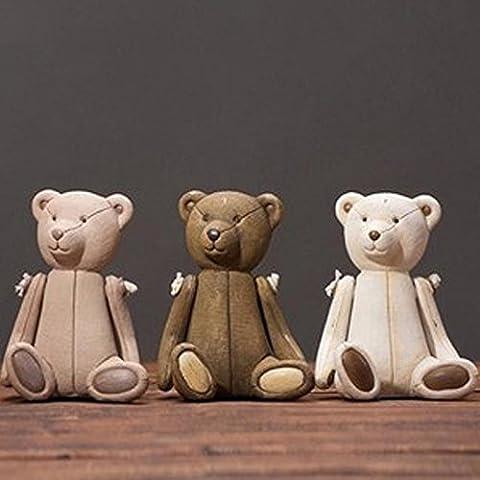 LQK-Country americano artigianato Cute Teddy bear resina ornamenti Visualizza set di ornamenti di tre