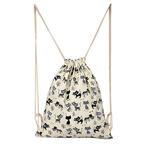 Imagen de vovotrade gato encantador de la historieta lona cordón saco colgante playa deportiva bolsa para  al aire libre bolso del dinero del teléfono celular beige  alternativa
