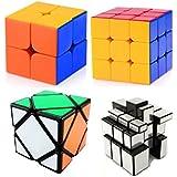 Mayatra's Combo Of - 2X2 High Speed Stickerless Speedy Rubik Magic Puzzle Cube, 3x3x3 Speed Cube, Shengshou 3x3 Mirror Cube, Silver & Ultra Smooth Magic Skewb Cube ( 4pcs )
