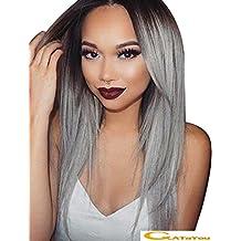 ATAYOU-WIG 2 tonos de variación de color longitud media larga sintéticas pelucas mujer (