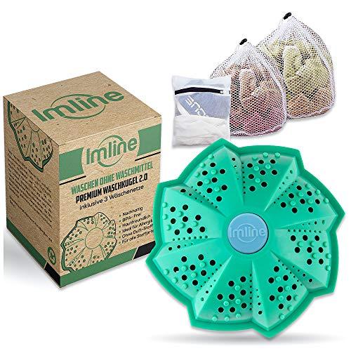 Premium Öko Waschball 2.0 [Inkl. 3 Wäschenetze] mit verbesserter Wirkung für die Waschmaschine - Waschen ohne Waschmittel - Laborgeprüft & BPA-frei - Waschkugel Ideal für Allergiker und Babys