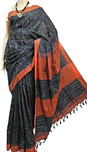 tant ghar Women's Cotton Bengal Handloom Khadi Saree with Running blouse (KC-02J)