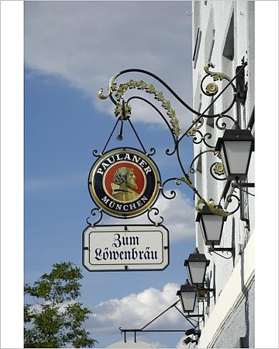 photographic-print-of-wrought-iron-sign-advertising-paulaner-and-lowenbrau-beer-wolfrathausen