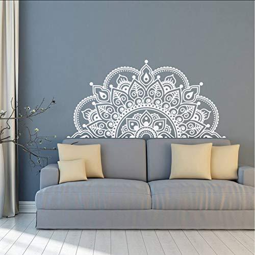 Ponana Vinilo Tatuajes De Pared Medio Mandala Mural Yoga Amante Regalo Inicio Cabecero Decoración Medio Mandala Diseño Pegatinas 85X42 Cm