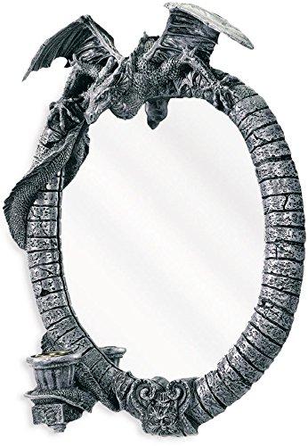 Gótico figura Espejo de pared 30,5 cm, diseño de dragón