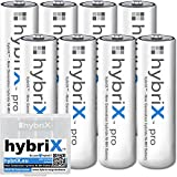 8er Pack Kraftmax hybriX pro Set - 8x Mignon AA Hybrid Akkus in Box - Die Neue Generation von Hybrid Akku Batterien