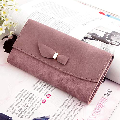 Leobtain Women Leather Clutch Wallet Girly Package Handbag with Long Section Clutch Stitching Color Bag Wallets Case with Hand Strap Card Holder Organizer for Ladies -