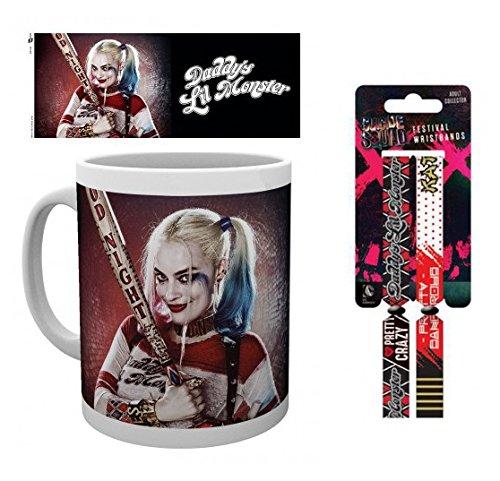 Squad Kostüm Robbie Margot Suicide - Set: Suicide Squad, Harley Foto-Tasse Kaffeetasse (9x8 cm) Inklusive 1 Suicide Squad Armband (10x2 cm)