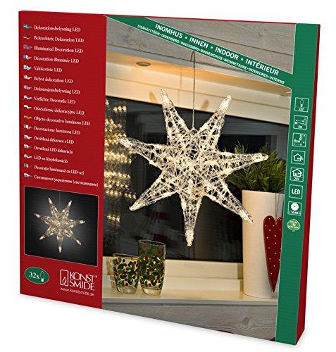 Konstsmide 6110-103LED Dekoration Acrylstern / für Innen (IP20) / 24V Innentrafo / 32 warm weiße Dioden / transparentes Kabel