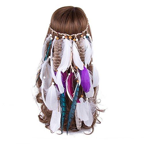 AWAYTR Jahrgang Feder Stirnband Indisch Kopfschmuck Boho Hippie Perlen Maskerade Schick Kleid Haar Zubehör Zum Frau Mädchen (Weiße Federn + lila Federn + Blaue lange Fasanenfeder) -