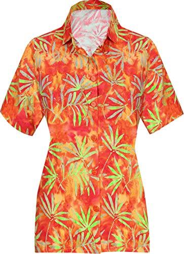 HAPPY BAY Sommerferien Partei Kragenhemd für Frauen Plus Größe Blumen gedruckt Aloha XXL - DE Größe :- 50-54 Orange_AA188