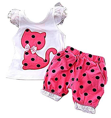 PICCOLI MONELLI Baby Mädchen 3 Jahre komplett Sommer Tank Top und Shorts mit gepunkteten Kätzchen cm 98 Farbe Fuxia