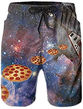 Funny Caps Guitar Playing Sloth Slinging Pizza Pattern Men's/Boys Casual Swim Trunks Short Elastic Waist Beach...