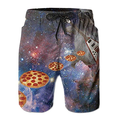 best& Guitar Playing Sloth Slinging Pizza Pattern Men's/Boys Casual Swim Trunks Short Elastic Waist Beach Pants with Pockets M -
