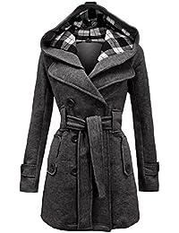 NOROZE Damen stylischer Herbst Winter Fleece Mantel, Jacke mit Kapuze