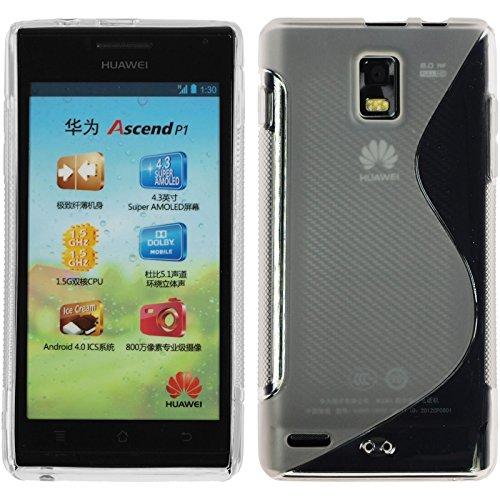 PhoneNatic Case für Huawei Ascend P1 Hülle Silikon clear S-Style Cover Ascend P1 Tasche + 2 Schutzfolien