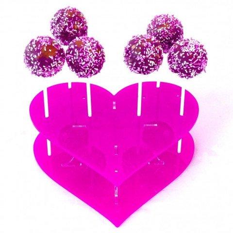Super Cool Creations 30cm Durchmesser Acryl Cake Pop-Ständer, Herzform, Pink (Pink Cake Pop-ständer)