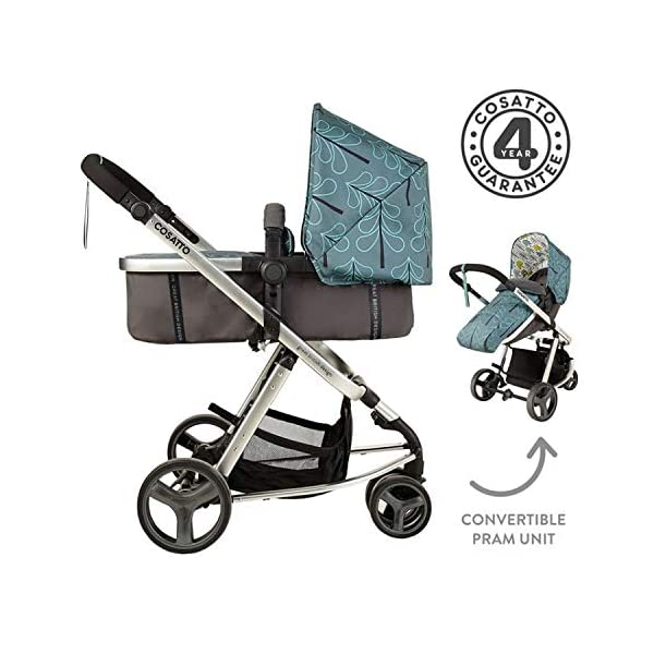 Cosatto Giggle Mix pram and Pushchair in Fjord with car seat Base & raincover Cosatto Includes: Chassis,Seat unit, Hold Car seat,Isofix base,Car seat adaptors,Raincover, Apron and 4 Year guarantee(UK and Ireland only) Suitable from birth up to 15kg. One unit transforms from newborn pram mode into pushchair mode. Space saving. No need to buy separate carrycot.. Colour packs available so you can change the look to suit your mood, family and adventures. Includes hood, pram apron and padded pushchair apron. 3