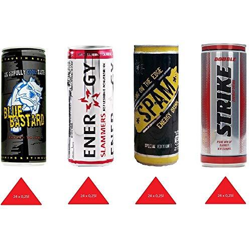Energy Drink 96 Dosen XXL Paket ( 4 x 24 dosen ) Mixpaket 1( Blue bastard, slammers , strike,spam ) , Kostenloser Versand nach Deutschland (Energy-drink-pakete)