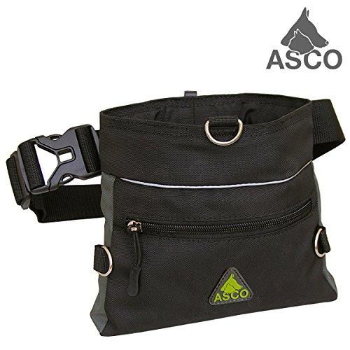 Bild: ASCO Futterbeutel  Leckerlibeutel für Hunde  Pferde mit EinhandSchnappverschluss  20x20cm  Premium Futtertasche schwarz AC61TB
