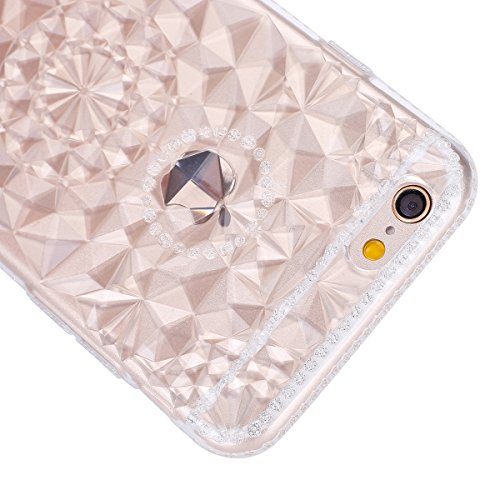 Ukayfe Custodia Morbido per iPhone 6/6S plus,2 in 1 Ultra Slim Casa per iPhone 6/6S plus Cover in Gel TPU Silicone Case Morbida Soft Trasparente e Cristallo Protettiva Custodia Brillantini Resistente  Girasole Bianco