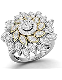 LOLLS Solid 10K Gold 0.71 CT Round Cut Natural Diamond SI HI Cocktail Designer Engagement Ring [LOLLS_GUR1026_...