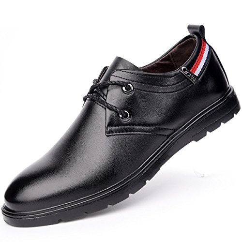 GRRONG Chaussures En Cuir Pour Hommes Loisirs Daffaires En Cuir Véritable Noir Brun Black