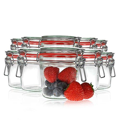 Draht-Bügel-Gläser je 500ml, 10 Stück im Set, Einmach-Glas / Aufbewahrungsglas mit Bügel-Verschluss und Gummi-Dichtung luftdicht, Schnapp-Glas zum Konservieren von Lebensmitteln - Marke YOUZiNGS
