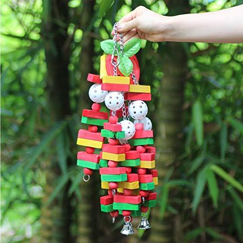 SYN Vogelspielzeug Balance, kleine Glocke, sicherer Ball, multifunktional, langlebig, für Papageien geeignet, aus Holz, Banane, zum Aufhängen, zum Kauen