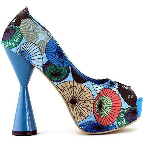 Voir l'établissement histoire Cute Pink/Blue parapluie impression PeepToe cône talon plate-forme pompe, LF40804 Bleu