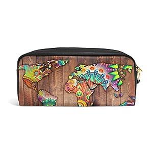 jstel mapa del mundo abstracto flores y geométrico madera escuela lápiz bolsa para bebés de los niños Niños Adolescentes soporte para bolígrafos de maquillaje bolsa mujer duradera gran capacidad bolsa de papelería
