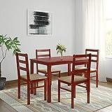 Woodness Winston Solid Wood Upholstered 4 Seater Basic Dining Table Set (Mahogany)
